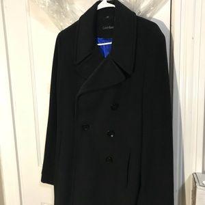 Calvin Klein Black Wool Peacoat
